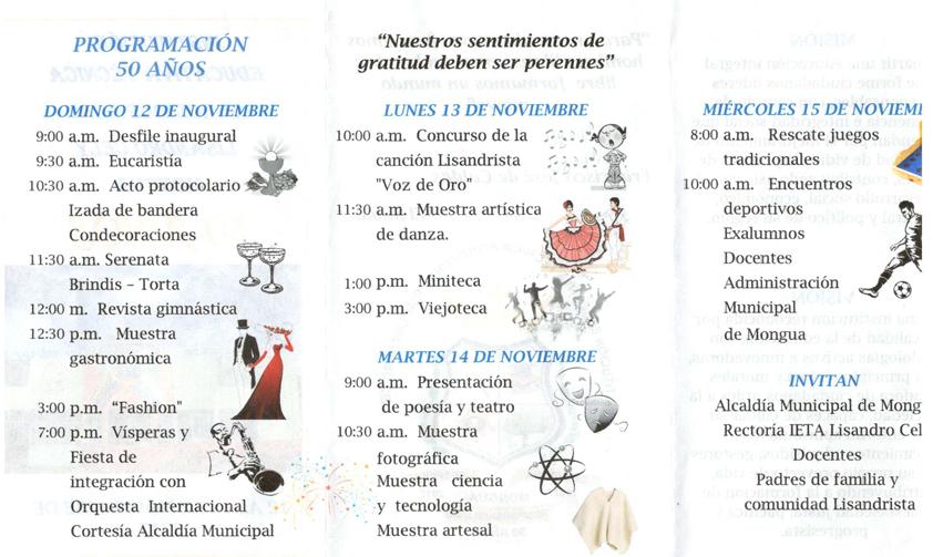 PROGRAMA 50 AÑOS Mongua 1