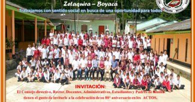 I.E.T.  Agropecuaria Libardo Cuervo Patarroyo de Zetaquira celebra sus 80 años de funcionamiento