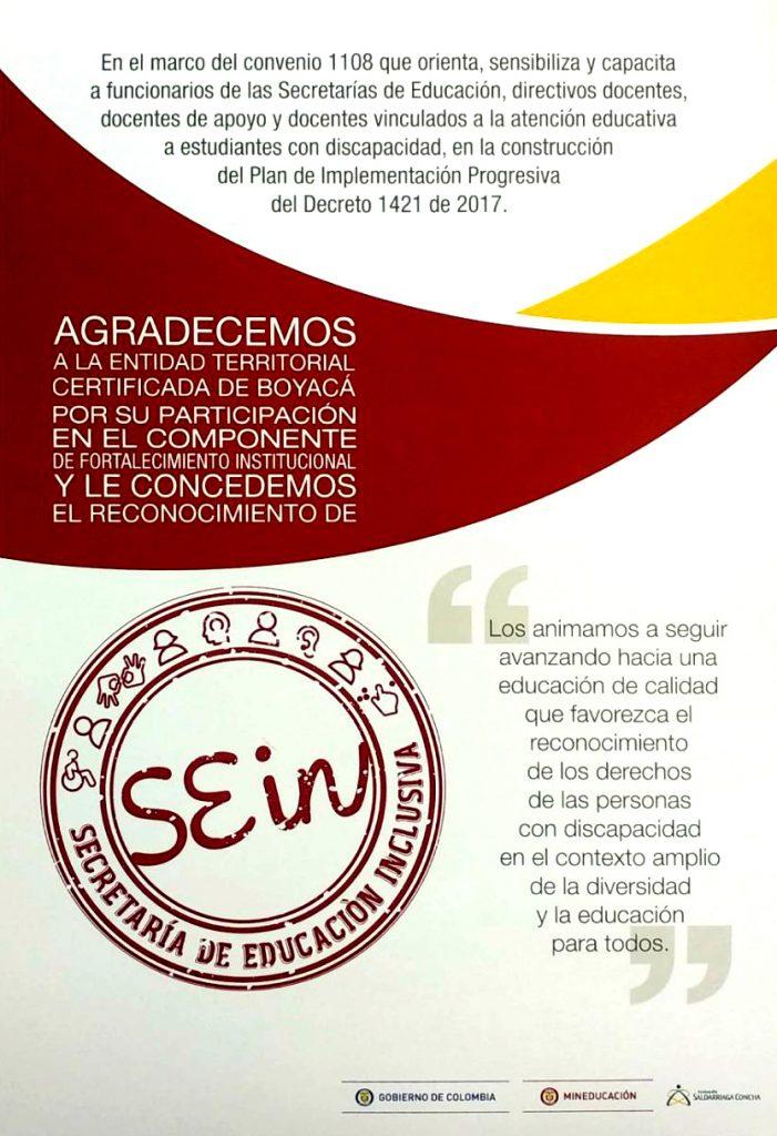 Reconocimiento Educación Inclusiva Secretaría de educación Boyacá - Carlos Amaya