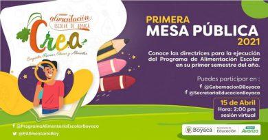 La Gobernación de Boyacá invita a la Primera Mesa Pública del Programa de Alimentación Escolar PAE-CREA 2021